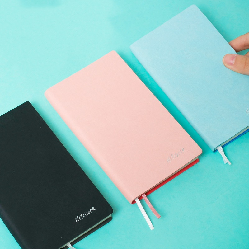 Mini Notebook Portable Pink Black Blue Color Leather Cover Soft Copybook Journal Diary Book Notepad Office School Student A6078