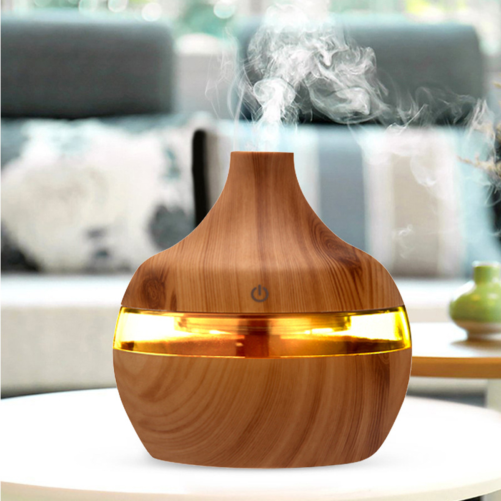 300ml USB Electric Aromatherapy Air Humidifier Wood Grain 7 Color LED Lights Mini Essential Oil Aroma Diffuser For Home Car