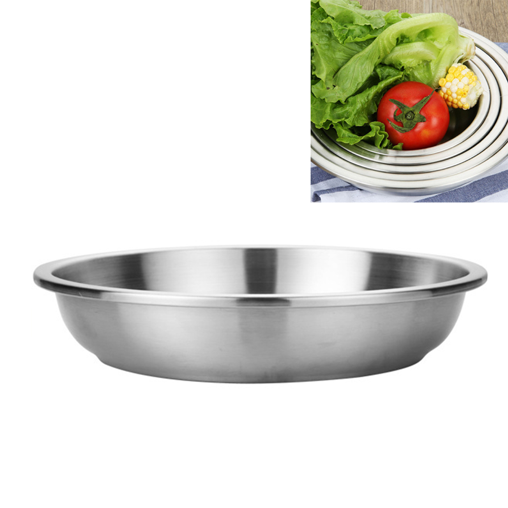 Stainless Steel Tableware Dinner Plate Fruit Dessert Plate Food Container for Camping image