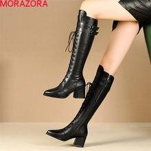 MORAZORA 2020 nuovo arriva cuoio genuino tenere in caldo stivali alti al ginocchio di spessore tacchi alti di alta qualità di inverno scarpe da donna stivali
