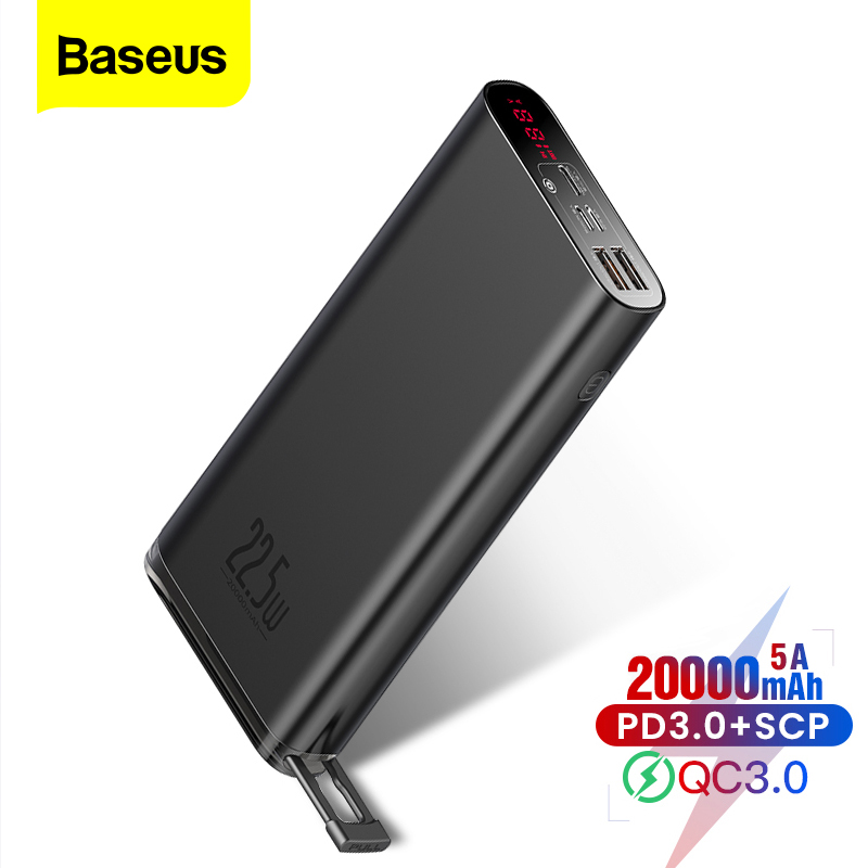 Baseus Power Bank SCP 20000mAh PD USB Quick Charge 3.0 Powerbank Portable External Battery Fast Charger For iPhone Xiaomi Huawei