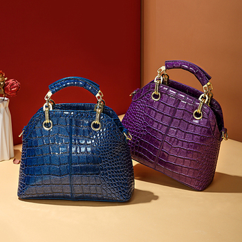 Cowhide leather bag Women handbag 2020 fashion new crocodile pattern shell bag female shoulder messenger ladies bag for Women