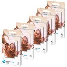 20 folhas/caixa papel de foto de zinco para impressoras da foto do sprocket plus da hp 5.8*8.7cm (2.3x3.4 polegada) imagens de impressão portátil