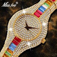 MISSFOX Mix Baguette Diamond Women Watches Luxury Ladies Gold Watch Shockproof Waterproof Small Womens Watch For Female Clock