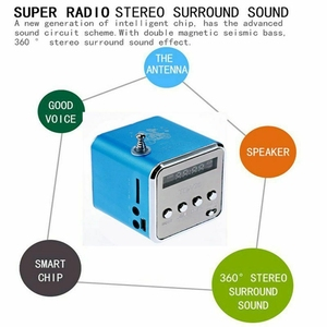 Image 3 - MOOL المحمولة TD V26 الرقمية FM سماعات راديو صغيرة تعمل لاسلكيًا مع LCD ستيريو مكبر الصوت دعم بطاقة TF صغيرة
