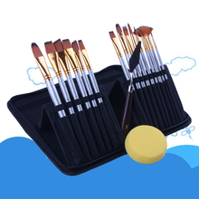 15pcs/lot Nylon Wool Acrylic Brushes Set for Art Painting Cloth Bag Oil Watercolor Drawing Craft DIY Kid Professional Brush Set