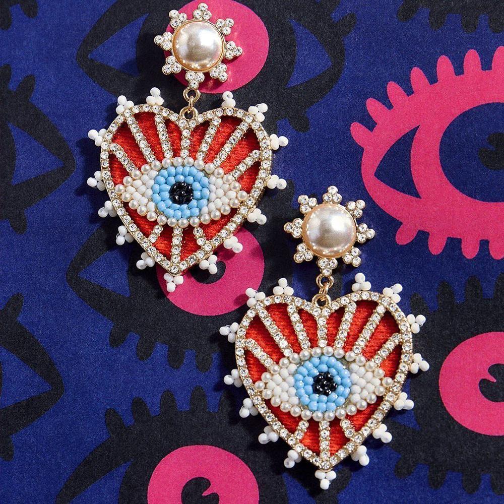 Girlgo Bohemian chupete Bar Ojo multicolor mal pendientes con diseño de ojos para mujer moda elegante cuentas corazón gota pendientes para regalo de boda