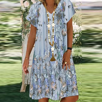 Summer Women Floral Casual Dress Plus Size Short Sleeve V Neck Elegant Dresses For Women Clothing Vestidos Mujer Verano Autumn Beach Casual Dresses Elegant Dresses Evening Mini Party Print Dresses Sexy Short Sleeve Slim Spring V Neck Women Color: Blue Size: M