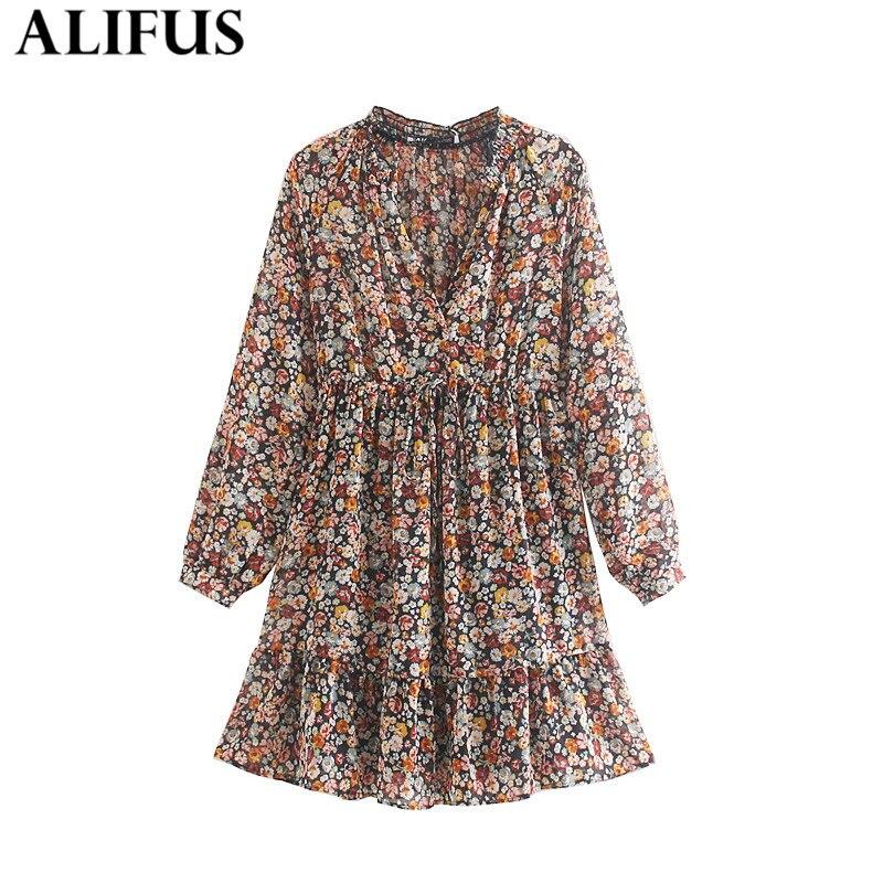 Fashion Za Women Dress Vintage 2019 Floral Printed V-Neck High Waist Long Sleeve Mini Dresses Female Ladies Vestidos