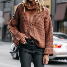 купить GIKING Turtleneck Sweater Women Pullover Autumn Winter 2019 Long Sleeve Knit Sweater Casual Black White Sweater pull femme S-3XL онлайн