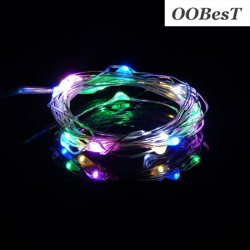 OOBesT 1M String Light 10 LED Beads Lighting String Colorful Copper Wire New Year Christmas Tree Wedding Party Decoration 1