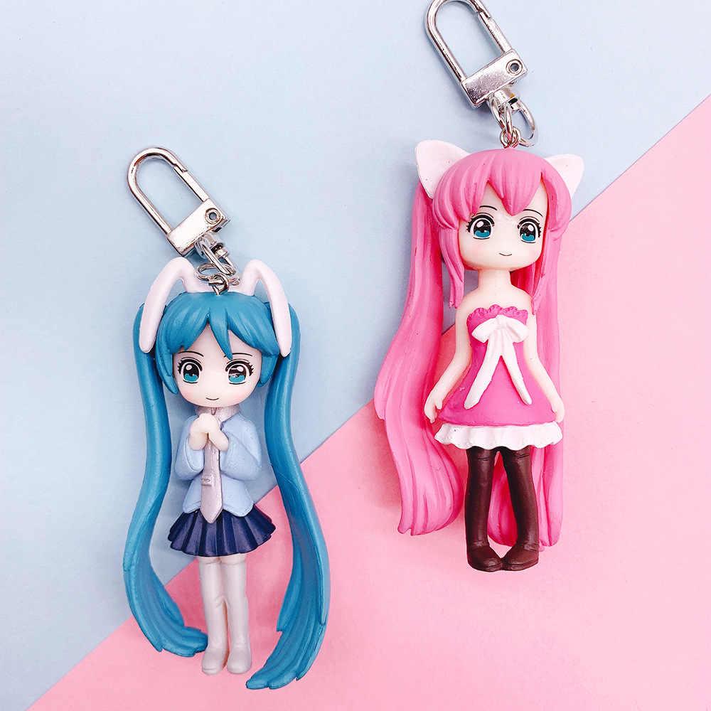 חמוד סיילור מון Tsukino Usagi Hatsune Miku Janpanese בנות גדול עין דמויות PVC פעולה איור דגם Keychain ילדה Keyring