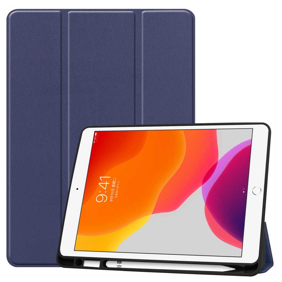 navy Gray Slim Smart PU Leather Case For Apple iPad 10 2 2019 with Pencil Holder Cover For