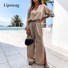 Sexy V Neck Shirt Tops And Split Wide Leg Pant Set Fashion Casual Women Two Piece Set Elegant Solid Lady Suit Outfits Streetwear