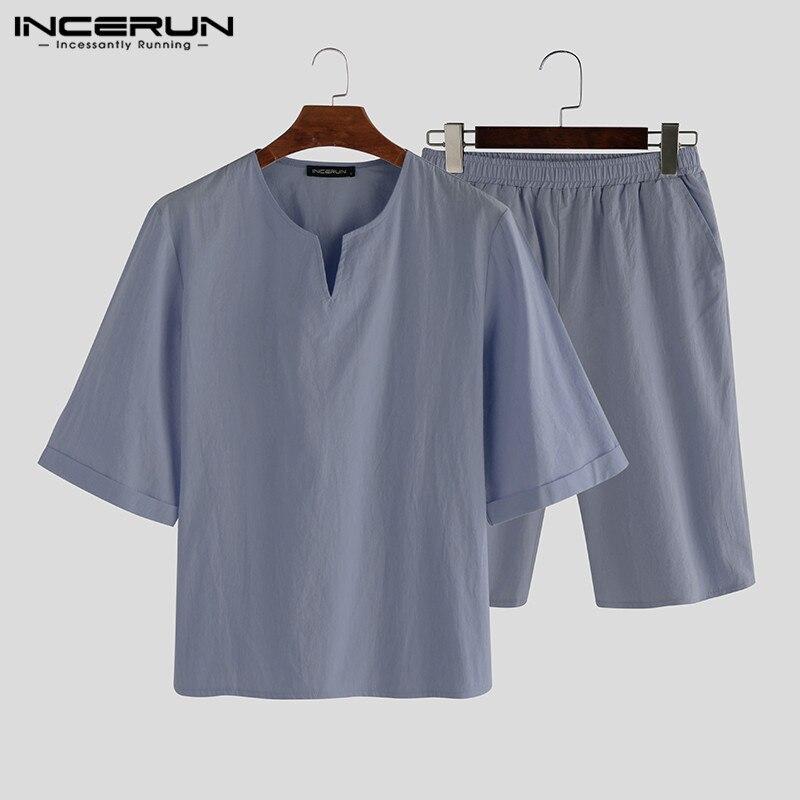 Men Pajamas Sets Cotton Solid Color Leisure Nightgown 2020 Short Sleeve V Neck Tops Shorts Homewear Sleepwear Sets S-3XL INCERUN