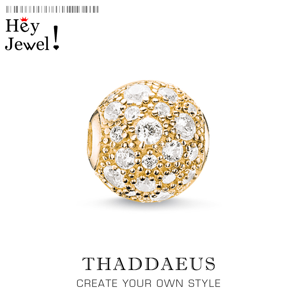 Beads Crushed Pave,Gold Color 925 Sterling Silver CZ Pave Charm Fits Bracelet Thomas Jewelry Thanksgiving Gift For Women & Men