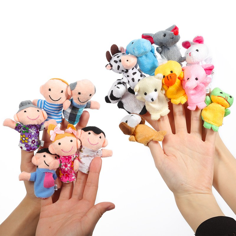 16PCS Cute Cartoon Biological Animal Finger Puppet Plush Toys Child Baby Favor Dolls Boys Girls Finger Puppets