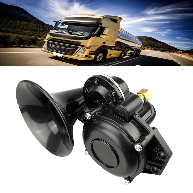 Truck 135db Air Horn 12/24V Super Loud Trumpet Air Horn with Electric Valve Flat for Auto Car Vehicle Trucks