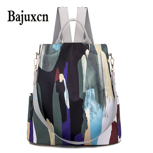 Image 1 - Simple style ladies backpack anti theft Oxford cloth tarpaulin stitching sequins juvenile college bag purse Bagpack Mochila