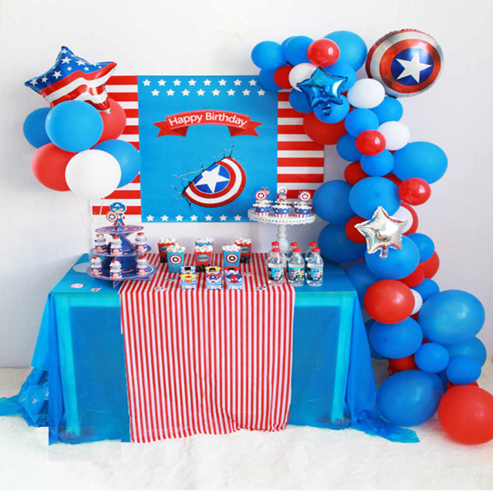 44 Pcs/set Biru Merah Captain America Shield Balon LaTeX Arch Kit Garland Anak Pesta Ulang Tahun Baby Shower Persediaan Latar Belakang