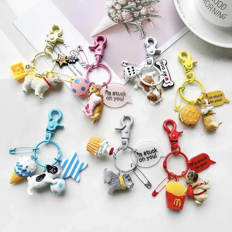 جميل الراتنج الحيوان الحيوانات الأليفة الكلاب مفتاح حلقة أفطس فصيل كورجي الويلزية سلاسل المفاتيح هدية للمرأة المجوهرات مفتاح سلسلة ل الكلب عاشق
