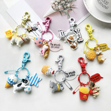 Lovely Resin Animal Pet Dogs Key Ring Schnauzer Welsh Corgi Keychains Gift For Woman Jewelry Key Chain For Dog Lover(China)