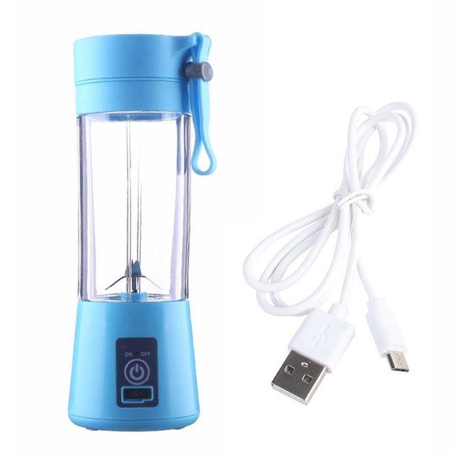380ml 2/4 Blades Mini USB Rechargeable Portable Electric Fruit Juicer Smoothie Maker Blender Machine Sports Bottle Juicing Cup