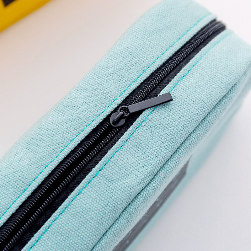 Student Simple Text Large Capacity Pencil Case Zipper Canvas Makeup Stationery AS99 in Pencil Bags from Office School Supplies