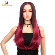 Golden Beauty Lace Front Wigs for Women Ombre Red Synthetic Long Straight