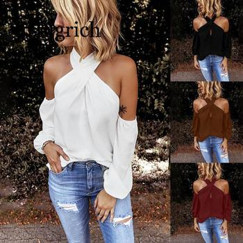2020 Women Sexy Solid Shirt Blouse Open Shoulder Tops and Blouses White Black Shirts Feminina Ladies Halter Long Sleeve