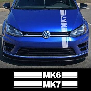 Pegatinas de cubierta de motor de coche para Volkswagen VW Golf MK4 MK5 MK6 MK7 MK8, capó de coche, decoración de rayas deportivas, calcomanías, accesorios de coche
