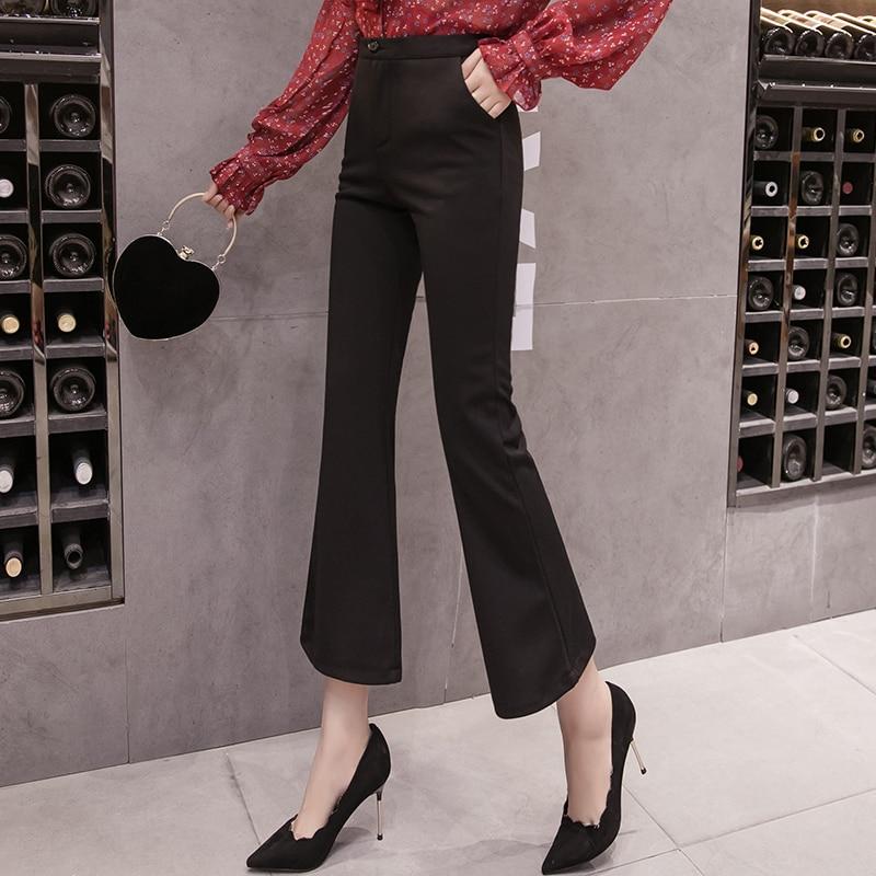 Womem flare   pants   2019 spring summer female vintage slim elegant chiffon   wide     leg     pant   casual trousers office lady pantalon