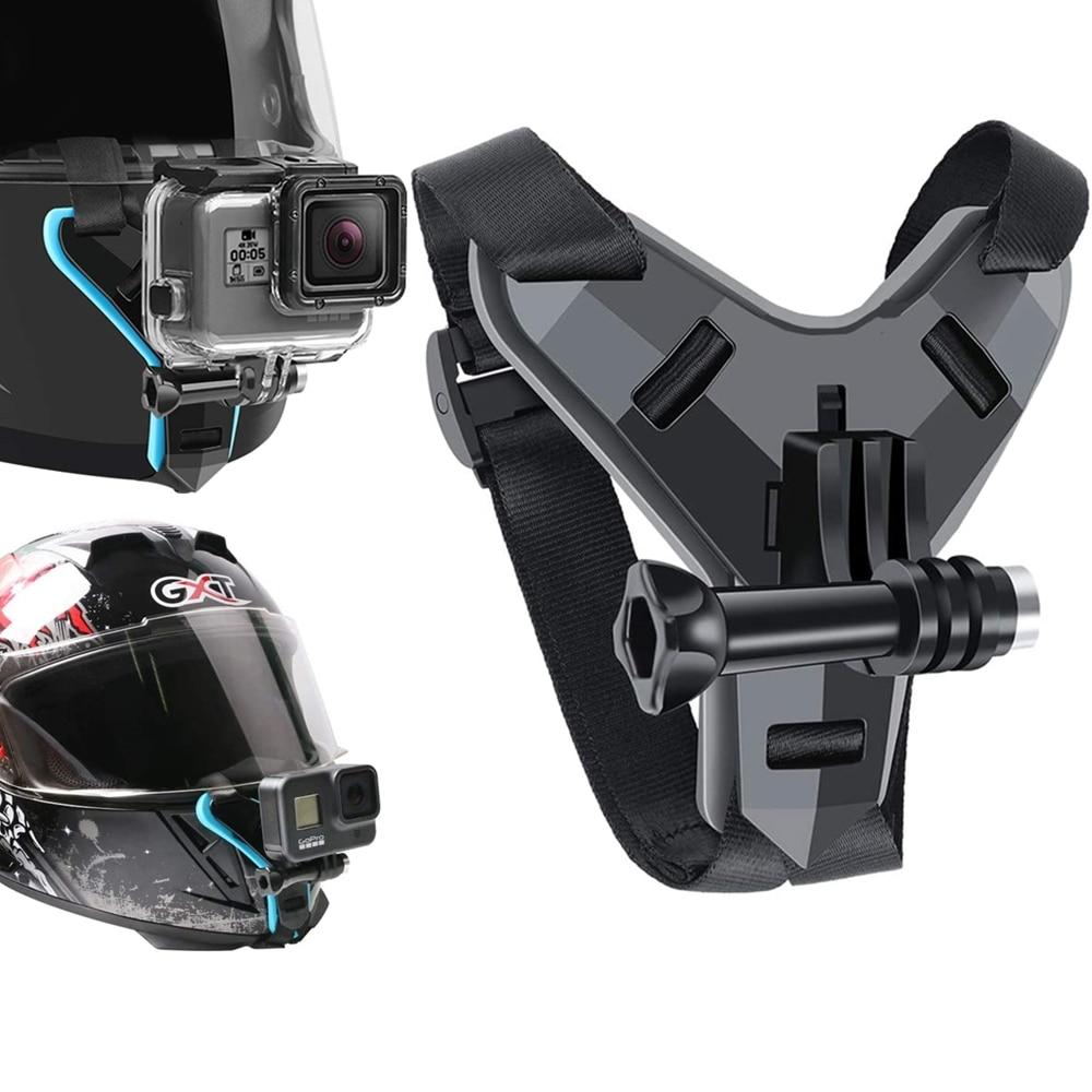 קסדת רצועת הר לgopro Hero 9 8 7 6 5 4 3 אופנוע יי פעולה ספורט מצלמה הר מלא בעל פנים אבזרים