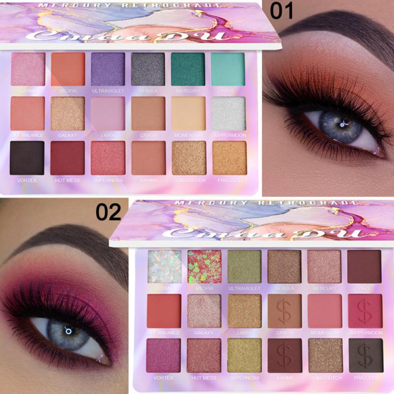 Cmaadu Mercury Retrograde 18 Color Shimmer Eyeshadow Palette Makeup Glitter Matte Smoky Waterproof Pigmented Eye Shadow Powder