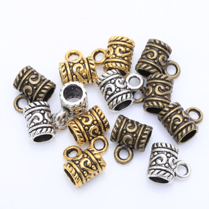 50pcs Tibetan Silver Big Hole Flower Bracelet Bails Pendant Connector Charms For Jewelry Making Diy Accessories Findings