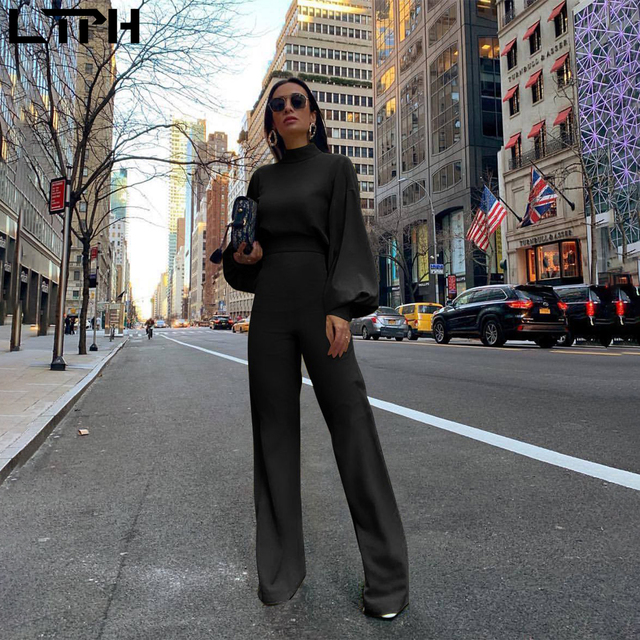 Hot sale 2019 autumn and winter new women jumpsuit Solid knit straight Ful sleeve lhigh collar hollow backless Long Siamese suit 3