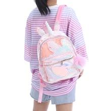 Girls Fashion Sequins Unicorn Backpack Women Canvas Small Backpack Bag Girl Book Bag Travel Shoulder Bag For Teenager Student цена 2017