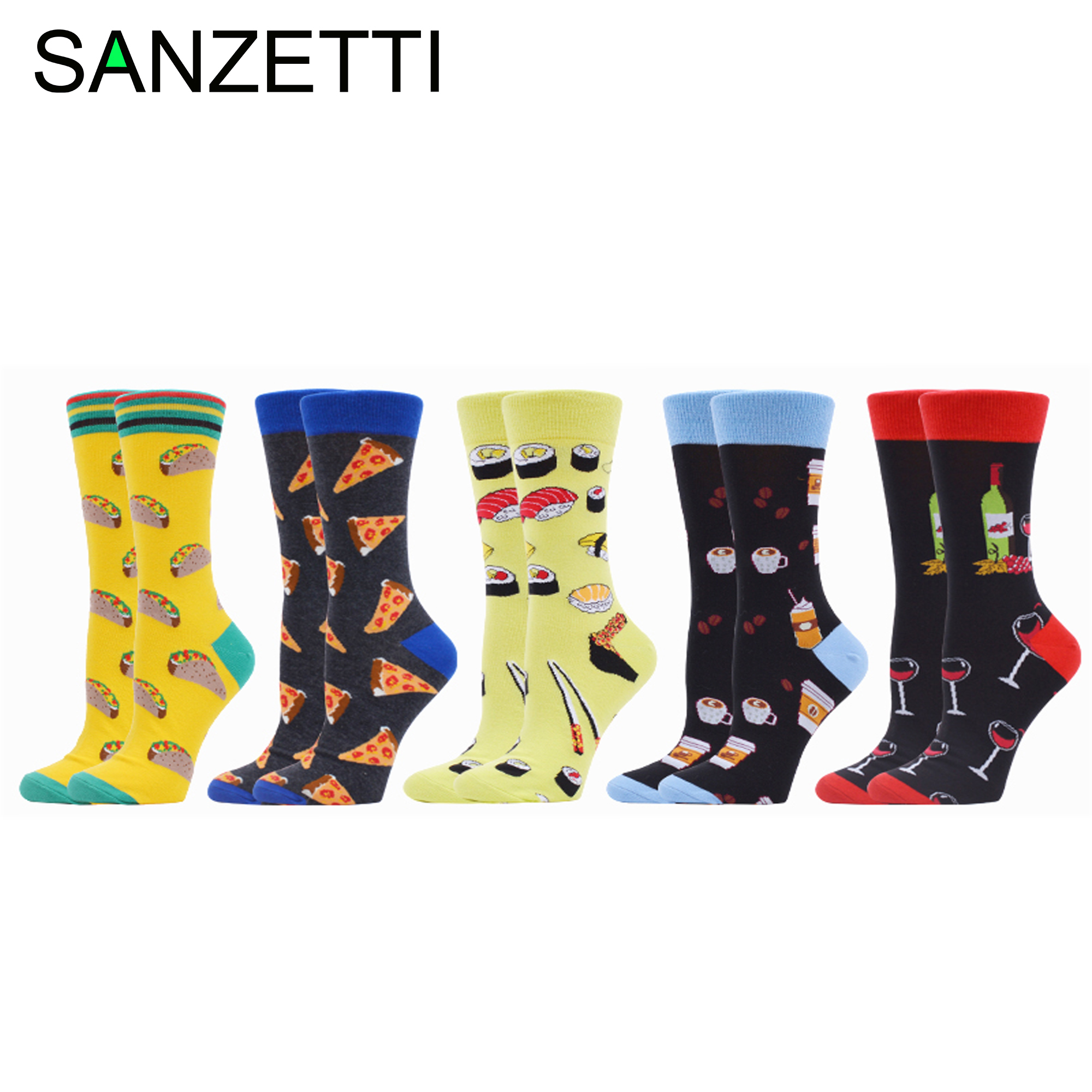 SANZETTI 5 Pairs 2020 Women Combed Cotton Socks Hot Dog Happy Lovely Colorful Harajuku Pizza Wedding Funny Dress Camping Socks