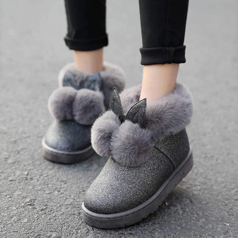 2019 kış yeni kadın botları tavşan kulaklar sevimli botlar su geçirmez ve kadife kalın sıcak pamuklu ayakkabılar.