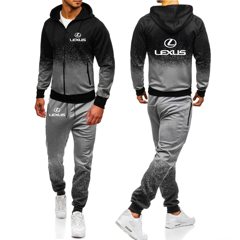 Hoodies Men Lexus Car Logo Print Casual Harajuku Gradient Color Hooded Fleece Zipper Jacket Sweatshirt Sweatpants Suit 2pcs