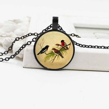 Hot Jewelry Cute Bird Crystal Glass Necklace Fashion Simple Alloy Pendant Necklace(China)