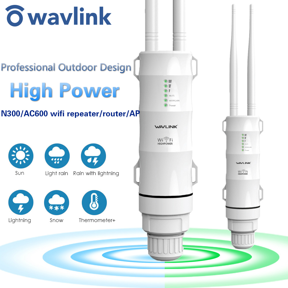 Wavlink High Power Outdoor Wireless Access Point WiFi Repeater/Router extender with POE High Gain Antennas Bridge WiFi Coverage