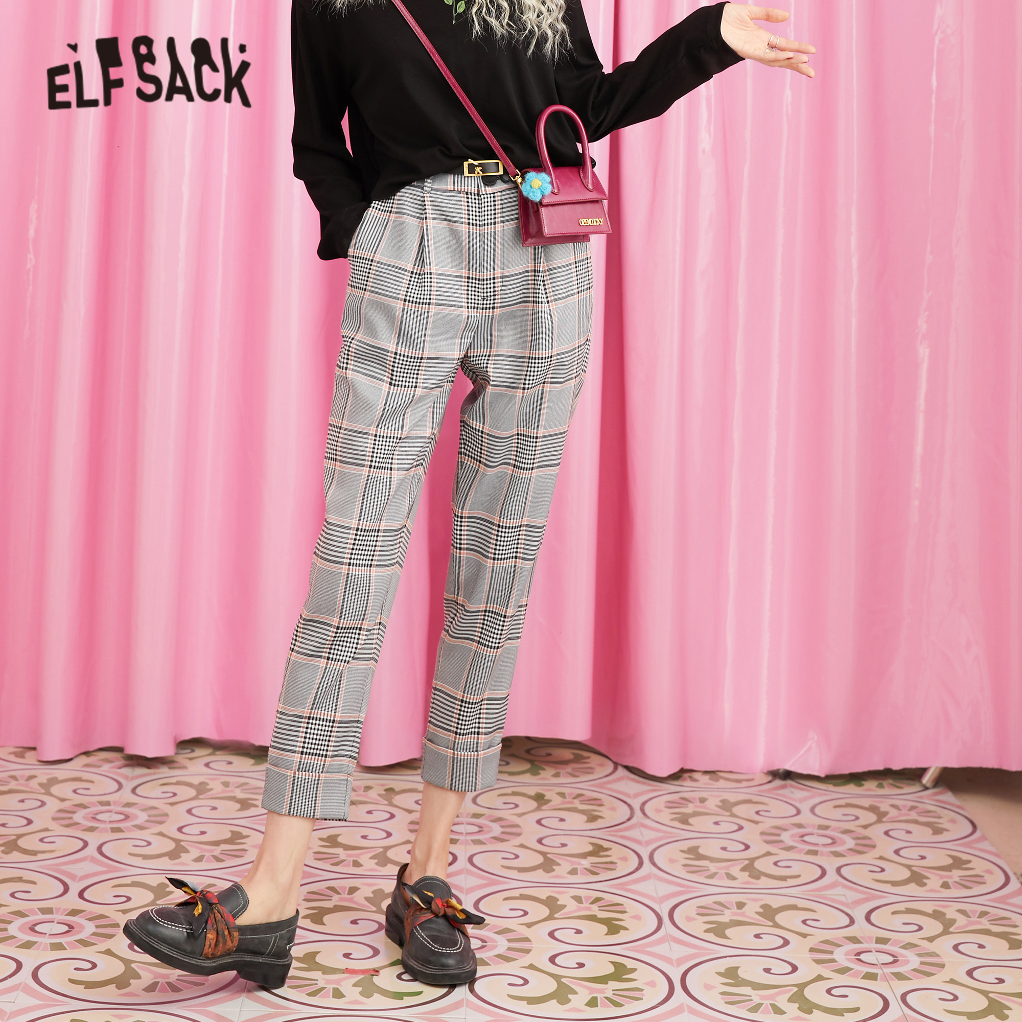 ELFSACK Gray Plaid Colorblock British Casual Women Pants 2019 Winter New Vintage High Waist Office Ladies Daily Trouser