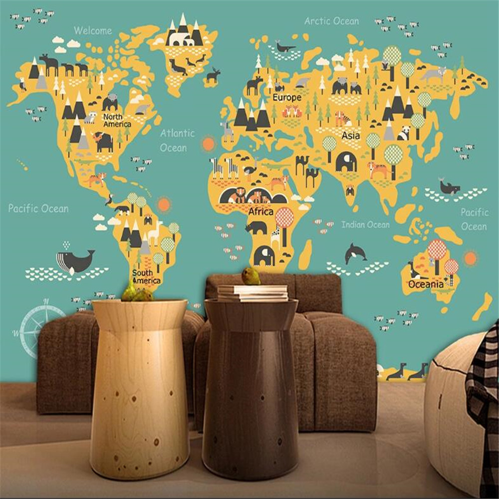 Milofi custom 3D large mural wallpaper cartoon children's world map TV background wall paper