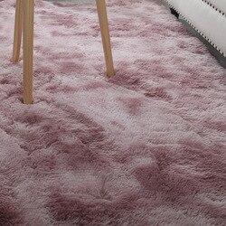 Super macio tapete gradiente cor longo-grampo de algodão piso quarto tapete gravata-tintura arte tapete empoeirado rosa corredor esteira decoração de casa