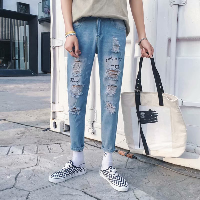 Harajuku Wind INS Over The Fire With Holes Jeans Male STUDENT'S Versatile Pants Capri Trend Ulzzang Hot Selling Pants