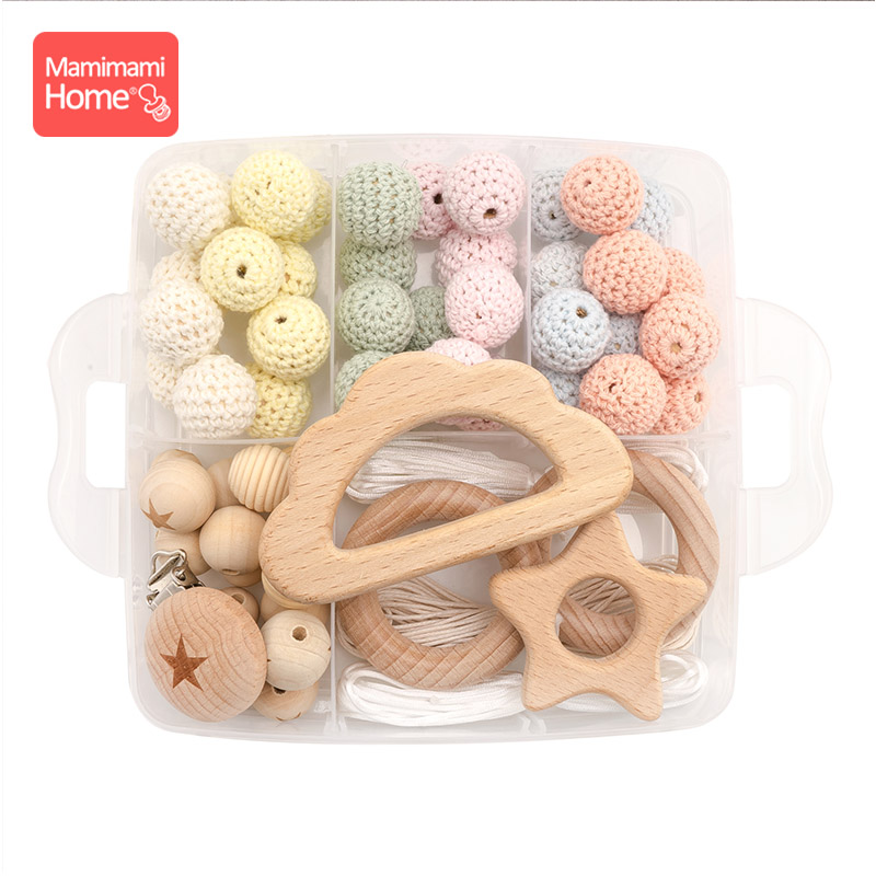 1set Baby Teether Wooden Beads Set DIY Nurse Birth Gift Pacifier Clip Chain Pendant Wooden Blank Rodent Silicone Beads Rings Toy