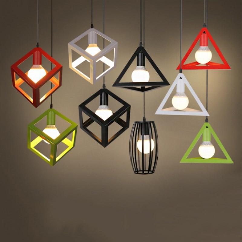 Nordic Vintage Pendant Lights Iron Minimalist Loft Cage Pyramid Pendant Lamp Modern Industrial Metal Hanging Lamp Parlor E27 LED