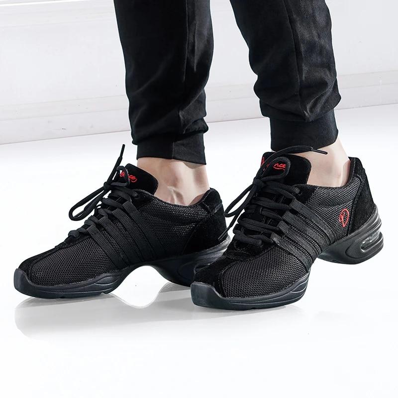 Black Split Sole Mesh Shoe Lace up Sneakers Slip Resistant Jazz Ballroom Teaching Practice Sports Outdoor Shoes Gtagain Modern Dance Trainers Women