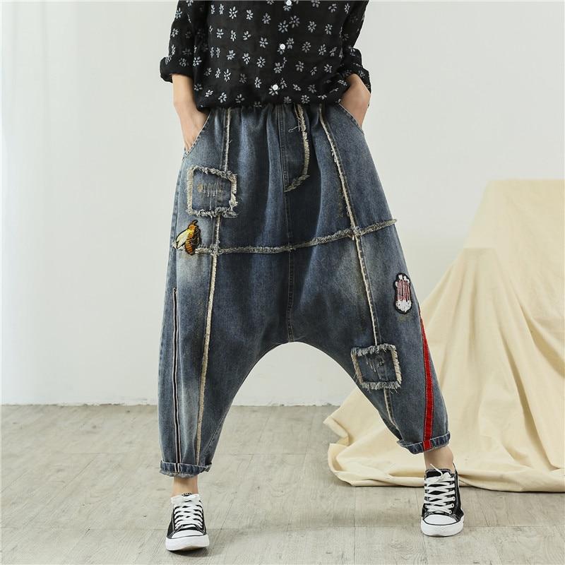 Casual Cotton Denim Harem Pants Women Plus Size Elastic Waist Vintage Distressed Hip Hop Boyfriend Jeans Cross Pants Trousers